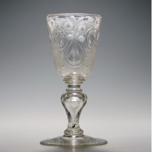 A Fine Engraved Bohemian Glass Goblet c1740