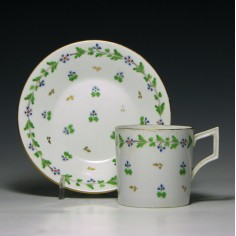 Derby Porcealin Coffee Can and Saucer c1810