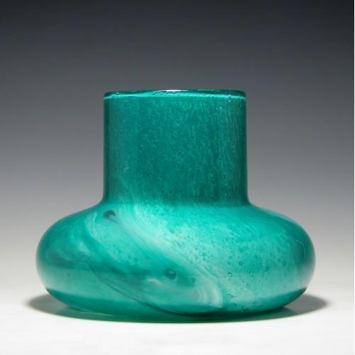 Turquoise Graystan Glass Vase c1930