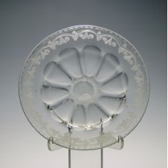 18th Century Glass Dish With Engraved Rim