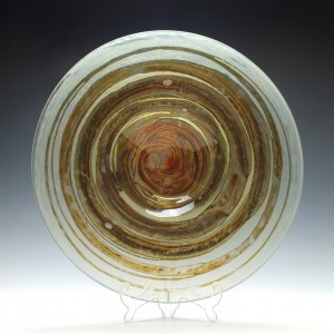 Isle of Wight Tortoiseshell Glass Charger Signed By Michael Harris