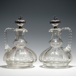 Fine Silver Topped Engraved Glass Claret Jugs