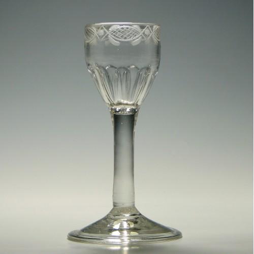 Engraved Georgian Plain Stem Wine Glass c1740