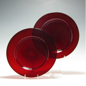 Rare Regency Red Glass Salad Plates c1820