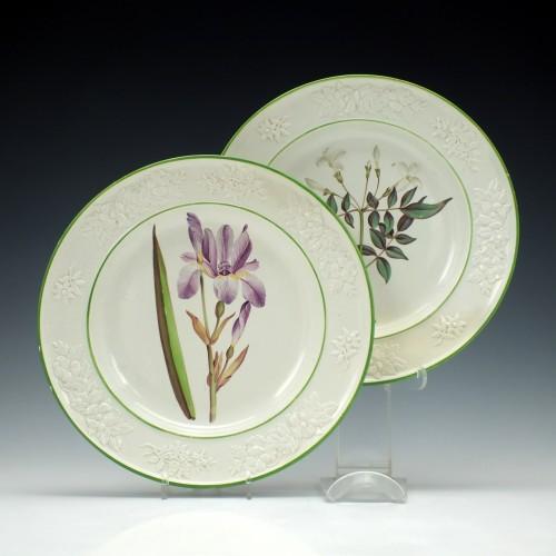 Pair Swansea Botanical Creamware Plates c1805
