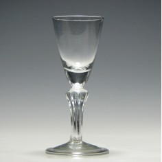 Georgian Hollow Eight Sided Pedestal Stem Wine Glass c1740