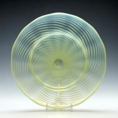 John Walsh Opalescent Vaseline Glass Plate c1895