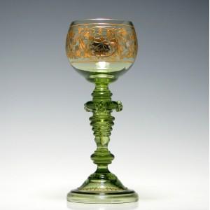 Friedrich Heckert Gilded and Enamelled Jugenstil Wine Glass c1900