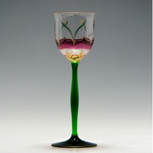 Art Nouveau Theresienthal Enamelled Hock Glass c1900