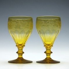 Pair of Engraved Victorian Amber Wine Glasses c1850