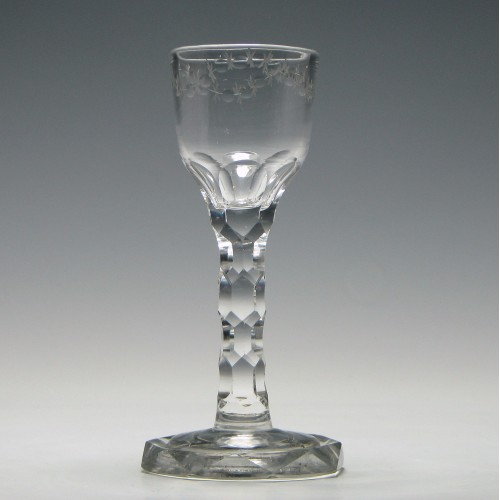 Rare Georgian Facet Cut Wine Glass with Octagonal Foot c1785