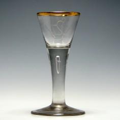Engraved Lauenstein Wine Glass c1770