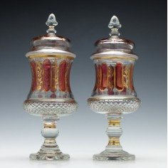 Pair of Bohemian Flashed & Gilded Lidded Glass Goblets c1880