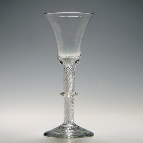 Rare Georgian Angular Collar Air Twist Wine Glass c1750
