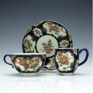 First Period Worcester 'Rich Kakiemon' Porcelain Trio c1765