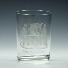 19th Century French Aix Les Bains Glass Tumbler