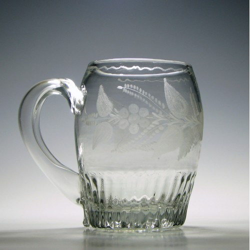 Large Engraved Early 19th Century Glass Tankard