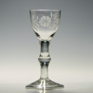 Engraved Georgian Balustroid Wine Glass  c1740