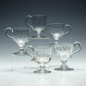 Five Victorian Glass Custard Cups c1865