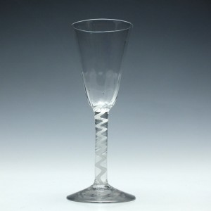Tall 18th Century Single Series Opaque Twist Ale Glass c1760