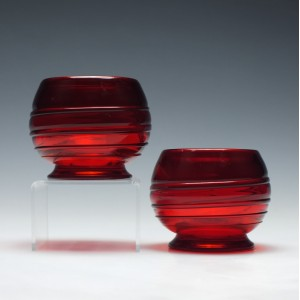 Pair of Whitefriars Trailed Glass Bowls