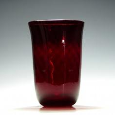 Whitefriars Optical Moulded Ruby Glass Vase