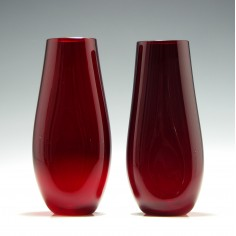 Pair of Whitefriars Ruby Glass Dimple Vases Pattern 9631