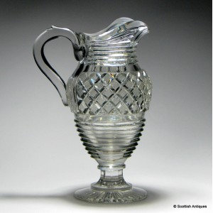 Tall Georgian Cut Glass Jug c1830