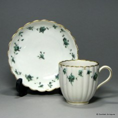 18th Century Chelsea-Derby Porcelain Coffee Can and Saucer c1775