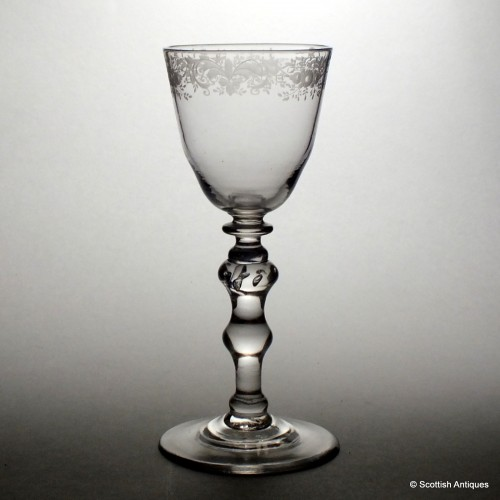 Rococo Engraved Newcastle Light Baluster Wine Glass c1750