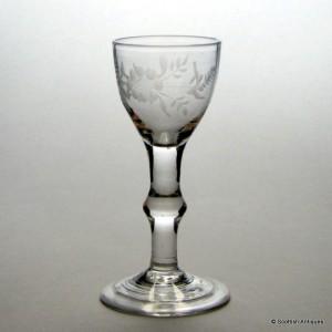 Engraved 18th Century Balustroid Wine Glass  c1740