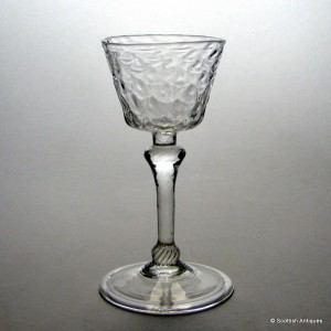 18th Century Nut Moulded Liege Wine Glass c1720
