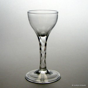 Rare Early Facet Cut Wine Glass c1760