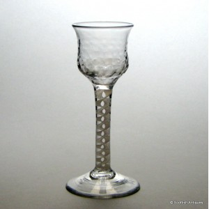 Rare Hammer Moulded Opaque Twist Wine Glass c1760