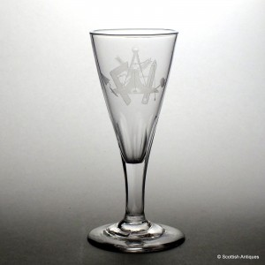 Masonic Engraved Georgian Ale Glass c1800