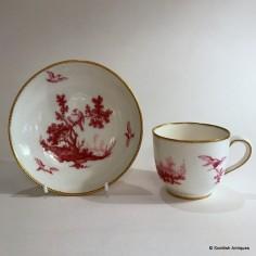 Vincennes Porcelain Cup & Saucer (gobelet bouillard et soucoupe) c1756