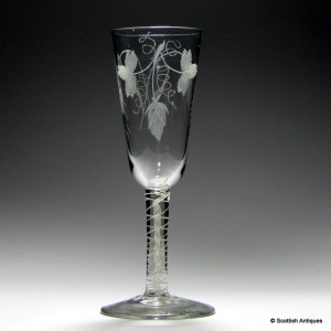 Georgian Opaque Twist Engraved Ale Glass c1760