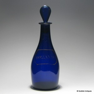 18th Century Bristol Blue Hollands Decanter c1810