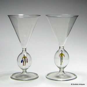 Pair of Austrian Bimini Wine Glasses  c1925