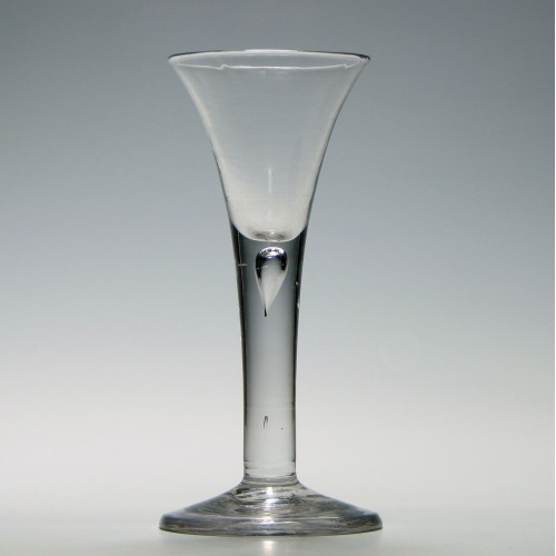 Georgian Drawn Trumpet Plain Stem Wine Glass c1750
