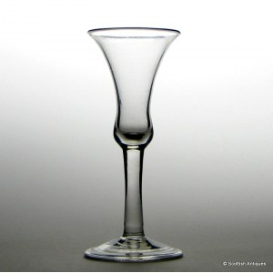 A Very Fine Georgian Plain Stem Wine Glass c1740