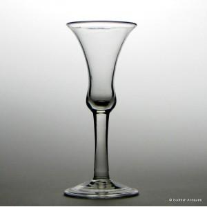 A Very Fine Georgian Plain Stem Wine Glass c1740