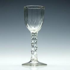 Gilded 19th Century Facet Cut Wine Glass c1840