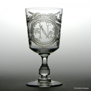 19th Century Etched Glass Rummer c1870