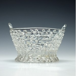 18th Century Openwork Lead Glass Basket c1780
