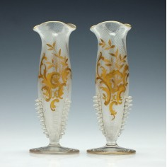 Legras Glass Stem Vases c1895