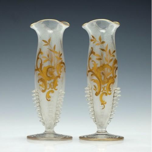 Legras Glass Stem Vases c1895