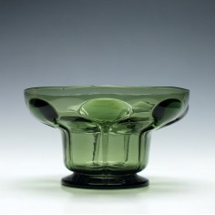 Green Monochrome Trailed Glass Bowl c1910