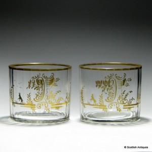 Pair of Gilded Bohemian Glass Finger Bowls c1830