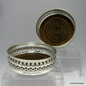 Pair of Pierced Silver Wine Coasters 1971